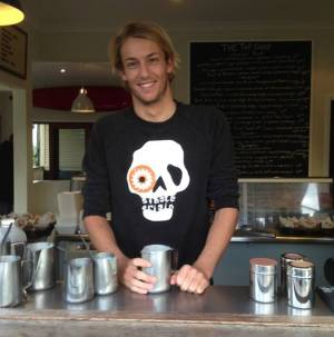 Top shop barista - he makes awesome coffee! www.facebook.com/TopShopByronBay