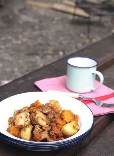 Campfire chicken and vegetable stew