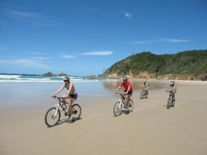 Mountain biking along Byron Bay's beautiful beaches