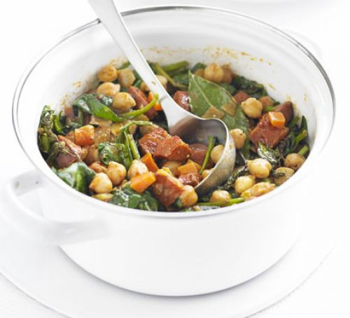 Chickpea Chorizo and Spinach Stew